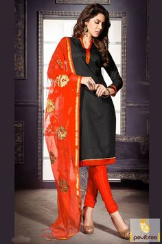 A beautiful black orange banaras casual salwar suit with low price online shop. It is decorated with embroidery and lace patti on net dupatta with plain dress. #salwarkameez, #cottonsalwarkameez, #casualsalwarlameez, #printedsalwarkameez, #indiansalwarkameez,   #churidarsalwarkameez, #discountoffer, #pavitraafashion, #utsavfashion, #embroiderysalwarsuit, #chiffonsalwarsuit, #georgettesalwarsuit http://www.pavitraa.in/store/casual-dress/ callus:+91-7698234040