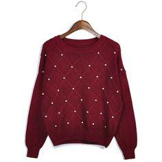 Frete grátis!!! Outono e inverno lã grossa camisola doce o- pescoço longo- xadrez de manga beading pulôver feminino outerwear US $23.00