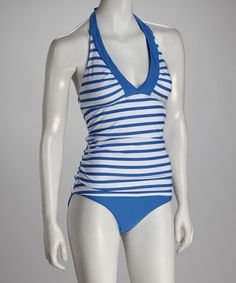 Another great find on #zulily! White & Blue Stripe Nautical Bliss Tankini Top - Women #zulilyfinds