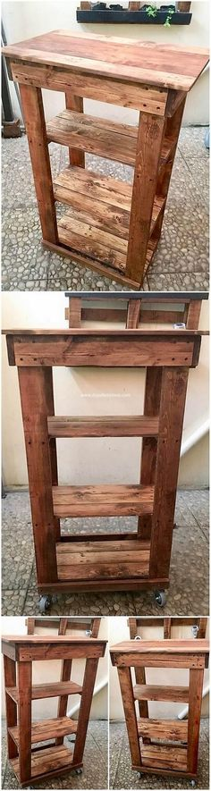 Once you would catch this mind-blowing wood pallet shelving table idea, you would surely going to wish around to make this amazing project as part of your house furniture. This whole table project has been pleasantly designed with the wood pallet use. Wood Pallet Recycling, Recycled Pallets, Wooden Pallets, Recycling Ideas, Pallet Wood, Diy Furniture Easy, Wood Pallet Furniture, House Furniture, Small Wood Projects