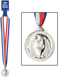 """Sports Silver Medal with Ribbon - 30"""""""" Case Pack 12"""
