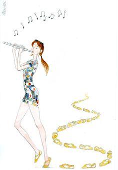 Happy, music, illustration