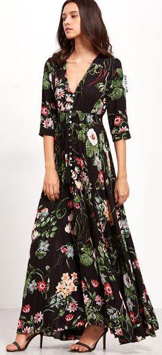 Deep V Neck Florals Drawstring Button Front Dress. More colors alternative!