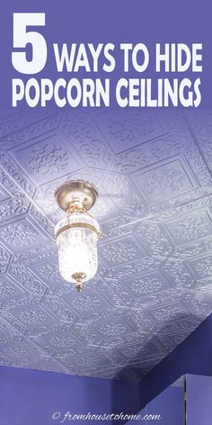 These DIY home decor ideas for covering a popcorn ceiling are AWESOME! I love these ideas! Now I know how to update the room decor in my house. #fromhousetohome #homedecorideas #roomdecor #ceilings #decoratingtips #diydecorating Faux Tin Ceiling Tiles, Fabric Ceiling, Ceiling Decor, Diy Wall Decor, Diy Home Decor On A Budget, Diy Home Decor Projects, Decorating On A Budget, Covering Popcorn Ceiling, Removing Popcorn Ceiling