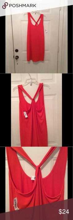 🌺BRAND NEW-VERY CUTE COVER-UP OR DRESS NWT 🌺 BRAND NEW-summer orange dress that could be used as a bathing suit cover up. It is gorgeous!  The back has a sliding cross back. Very stylish and cute. NWT Old Navy Swim Coverups