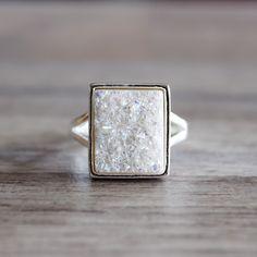 White Druzy Quartz Ring