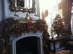 Christmas garland with lots of ornaments with tree to match!
