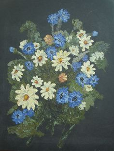 Original Acrylic Painting with Palette Knife of Still Life Daisy Flowers - Art