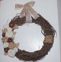 $30.00   Grapevine Burlap Wreath with Burlap Flowers Front Door Wreath Neutral Wreath