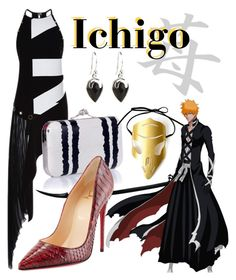"""""""Ichigo Kurosaki from Bleach"""" by laniocracy ❤ liked on Polyvore featuring Anthony Vaccarello, Alexander McQueen, Christian Louboutin, NOVICA and bleach"""