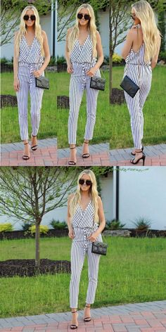 5ccab344151 Fashion rompers womens jumpsuit strappy stripe slit long trouser playsuits jumpsuit  rompers casual for 2018 new  cotton