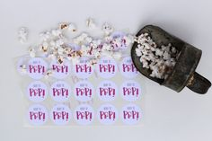 These Ready To Pop stickers are perfect for a bridal shower or gender reveal party! Use them as envelope seals on the invitations, to seal favor bags, or as part of the decor. Set of 30 stickers. 1.5 diameter. (Note: Iowa customers will need to pay a 7% sales tax.)   Thank you for visiting Give It Pretty! To return to main shop page: https://www.etsy.com/shop/GiveItPretty?ref=si_shop