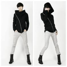 harajuku fashion punk men hoodies Personality oblique zipper decoration with a hood sweatshirt men plus size cardigan men,black