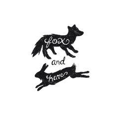 Fox & Hare by Tyler Thorney / logo / design / drawing / illustration / black and white Typography Logo, Typography Design, Illustrations, Illustration Art, Cl Design, Logo Luxury, Black And White Logos, Black White, Animal Logo