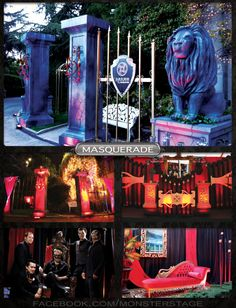 Masquerade Theme: Entrance pillars with chandelier, gates, huge lions, lighting, large pipe organ, moderate pipe organ, elegant glass mirror, gold candle operas, candles, red velvet lounge chair, black pipe n drape, and red swag. All available to rent for your next event.  Damian@monsterstage.com  Tim@monsterstage.com  www.monsterstage.com   tim@monsterstage.com