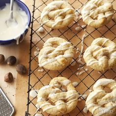 Whip up a few batches of this pretzel-shape Scandinavian favorite and add a flavorful old-world cookie into the mix. Eggnog-flavor icing adds extra sweetness, and freshly grated nutmeg gives the cookies a touch of spice./
