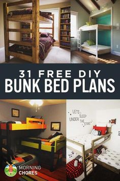woodworking for kids 31 Free DIY Bunk Bed Plans for Kids and Adults - Bunk beds are great to save bedroom space with 2 or more person. If you want to build it, bookmark this collection of free DIY bunk bed plans. Bunk Bed Plans, Murphy Bed Plans, Loft Bed Diy Plans, Bunk Beds With Stairs, Kids Bunk Beds, Loft Beds, Bunk Beds For Adults, Boys Bunk Bed Room Ideas, Adult Bunk Beds
