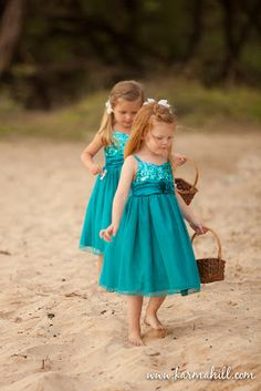 turquoise flower girl dresses, blue turquoise wedding dresses, maui wedding by Simple Maui Wedding