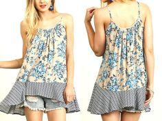 Umgee Top Size XL S M L Blue Print Tank Tunic Free Boho People Womens Shirt New
