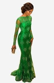 f74b79ae2cb7 2015 New Arrival Red Carpet Miss Nigeria Mermaid Long Sleeves Green Lace  Celebrity Inspired Dress Evening Prom Dresses Elegant