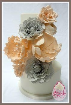 Peach and grey wedding cake