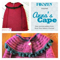 "kids love playing dress ups and this royal cape is great for that."" Free Pattern from Knot Your Nana's Crochet Crochet Girls, Crochet For Kids, Crochet Baby, Knit Crochet, Frozen Crochet, Crochet Disney, Crochet Crafts, Crochet Toys, Crochet Projects"