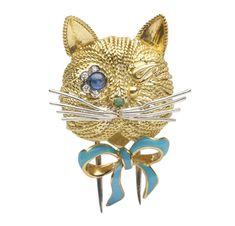 FD GALLERY | Van Cleef & Arpels | A Sapphire, Enamel and Gold Cat Brooch, by Van Cleef & Arpels