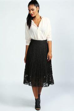 Wendy Lace Midi Prom Skirt