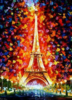 PARIS -EIFEL TOWER LIGHTED - LEONID AFREMOV by ~Leonidafremov on deviantART
