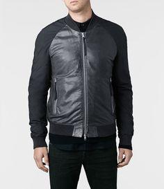 Mens Nash Leather Bomber Jacket (Anthracite) | ALLSAINTS.com