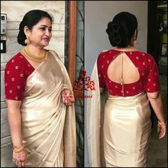 Back neck designs for Blouse - The handmade craft New Saree Blouse Designs, Simple Blouse Designs, Stylish Blouse Design, Bridal Blouse Designs, Brocade Blouse Designs, Blouse Back Neck Designs, Saree Blouse Patterns, Outfit Invierno, Designer Blouse Patterns