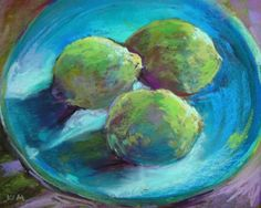 A Plate of Limes Still Life, painting by artist Karen Margulis Small Paintings, Original Paintings, Lemon Painting, Fruit Picture, Fashion Painting, Artist Gallery, Pastel Art, Types Of Art, Still Life