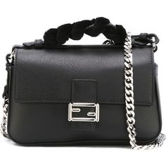 Fendi micro Double Baguette crossbody bag (€1.615) ❤ liked on Polyvore featuring bags, handbags, shoulder bags, black, chain strap purse, leather shoulder handbags, leather cross body handbags, crossbody shoulder bag and leather purses