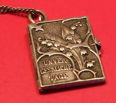 Vintage Silver Book Pendant/Charm - German (Art Nouveau) c. 1890s - 1900s