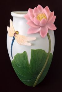 Dragonfly & Waterlily Wall Vases