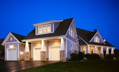 Cool Detached Garage Plans convention Columbus Craftsman Exterior Inspiration with blue bungalow columns Craftsman dormer windows driveway entrance entry gable roof garage doors grass Craftsman Interior, Craftsman Style Homes, Craftsman Porch, Craftsman Columns, Bungalow Haus Design, House Design, Garage Design, Exterior Design, Exterior Colors