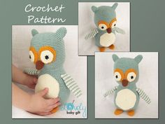Crochet Owl Amigurumi, Bird Pattern Crochet, Amigurumi Crochet, CP-123   LovelyBabyGift - Patterns on ArtFire