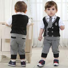 Marca crianças conjuntos de roupas de bebê do menino terno define crianças terno cavalheiro 100% roupas de algodão camisas + calças + tie freeshipping