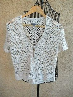 Ann Taylor Hand Crochet Sweater L Bolero Jacket Career Church New Without Tags