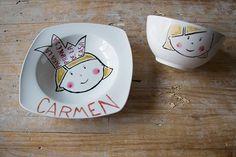 plato infantil pintado a mano                                                                                                                                                      Más