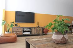 Living Room Kitchen, Living Room Modern, Yellow Walls Living Room, Wood Fireplace, Apartment Living, Wall Colors, Interior Inspiration, Sweet Home, House Design