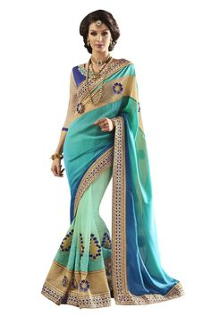 Buy Now Rama Fancy Embroidery Georgette Half-Half Wedding Wear Saree With Dhupian Blouse only at Lalgulal.com. Price :- 4,632/- inr.  To Order :- http://goo.gl/RmFOoR. COD & Free Shipping Available only in India