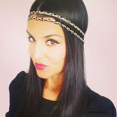 Headband tressé fil de coton noir, beige et doré original style hippie chic et bohème chic : Accessoires coiffure par menina-for-mathis