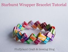 Candy Wrapper Jewelry.  I used to make these when I was a kid!