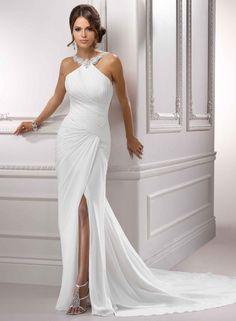 Elegant Column Straps Chiffon Ruffle Chapel Train Wedding Dresses WD-3092