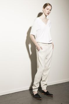 Curated Daily - Workshop Denim Womens Split Front Tee, Vanessa Bruno Trousers and Alexander Wang Loafers