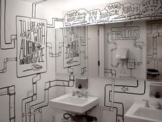 i totally love this i need something like this in my apartment when i move!~only i think ill paint the bathroom a fun color THEN do this. its all sharpie how cool is this!