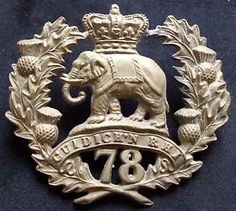 Pre-1881 type glengarry badge to the 78th (Ross-shire Buffs) Rgt. of Foot.