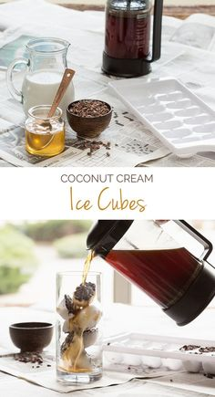 Toss these Coconut Cream Ice Cubes into your mug or blender for a natural sweetener that won& water down your iced coffee. If using full fat coconut cream, be sure to whisk together until well combined. Refreshing Drinks, Fun Drinks, Yummy Drinks, Yummy Food, Beverages, Coffee Drinks, Iced Coffee, Smoothie Drinks, Smoothies