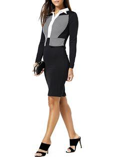 Stylish Faux Twinset Design Striped Bodycon Dress For Women